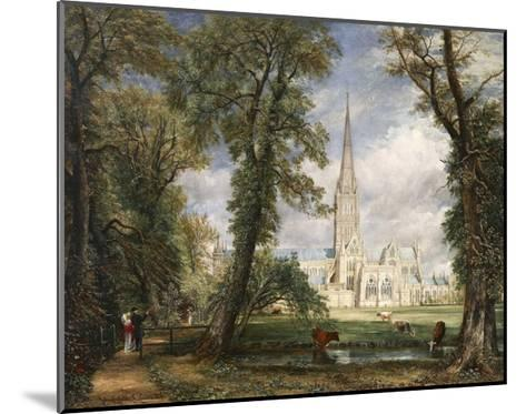 Salisbury Cathedral from the Bishop's Garden-John Constable-Mounted Giclee Print