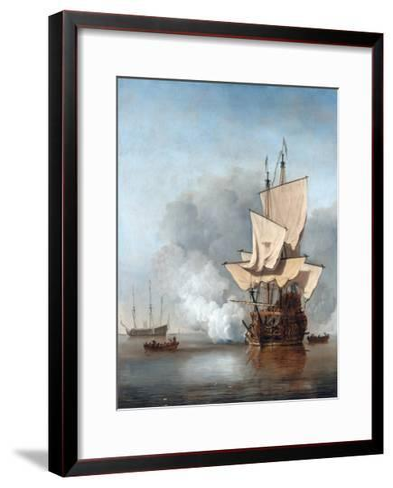 The Cannon Shot-Willem Van De Velde The Younger-Framed Art Print