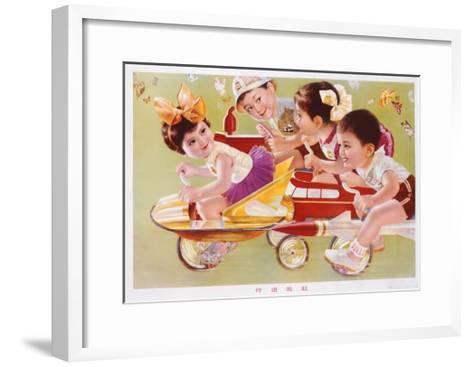 Four Children Racing--Framed Art Print