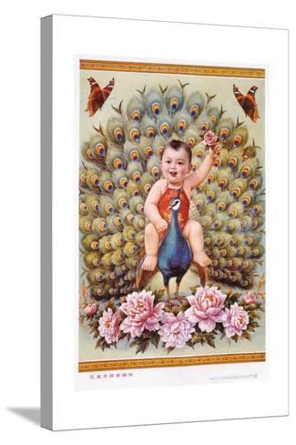 Chinese New Year's Poster with Baby Boy Riding Peacock--Stretched Canvas Print