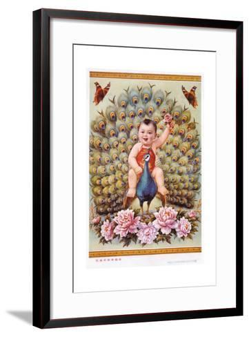 Chinese New Year's Poster with Baby Boy Riding Peacock--Framed Art Print