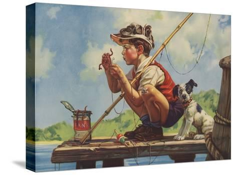 Illustration of Boy Hooking Bait--Stretched Canvas Print