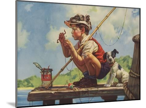Illustration of Boy Hooking Bait--Mounted Giclee Print