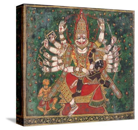 Narasimha Killing Hiranyakashipu, as Prahlada Watches--Stretched Canvas Print