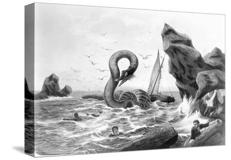 Sea Serpent Attacking Ship--Stretched Canvas Print