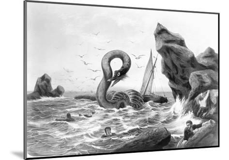 Sea Serpent Attacking Ship--Mounted Giclee Print