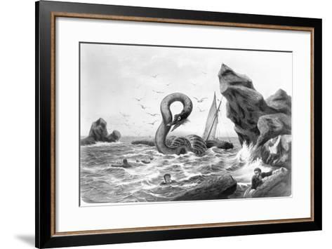 Sea Serpent Attacking Ship--Framed Art Print