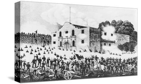 Lithograph of the Siege of the Alamo--Stretched Canvas Print