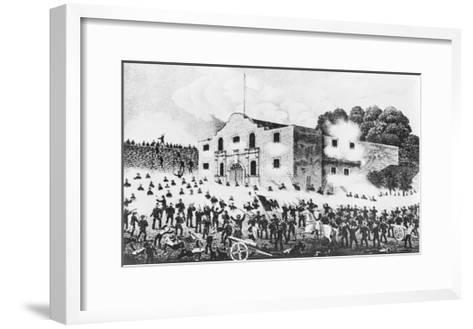 Lithograph of the Siege of the Alamo--Framed Art Print