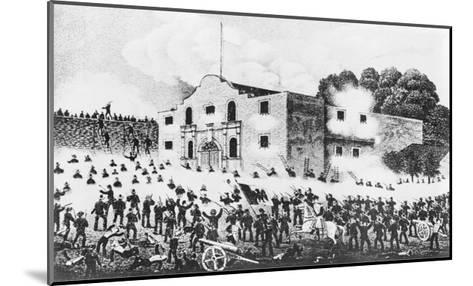 Lithograph of the Siege of the Alamo--Mounted Giclee Print