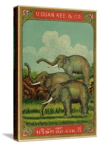 Thai Cotton Label with Elephants--Stretched Canvas Print
