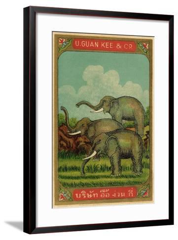 Thai Cotton Label with Elephants--Framed Art Print