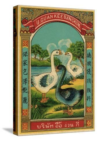 Thai Cotton Label with Geese--Stretched Canvas Print