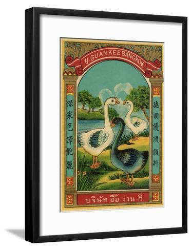 Thai Cotton Label with Geese--Framed Art Print