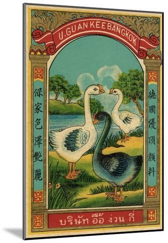 Thai Cotton Label with Geese--Mounted Giclee Print