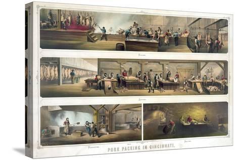 Pork Packing in Cincinnati--Stretched Canvas Print