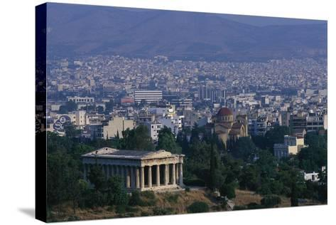 Hephaistion Temple Overlooking Athens-Paul Souders-Stretched Canvas Print