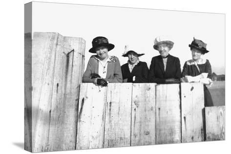 Four Adult Sisters Pose Along a Fence, Ca. 1910--Stretched Canvas Print