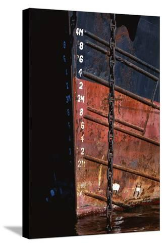 Tugboat Bow and Lowered Anchor Chain-Paul Souders-Stretched Canvas Print