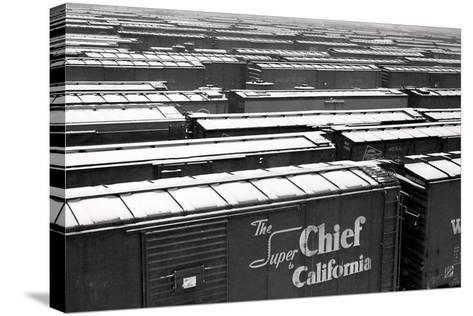 Railroad Boxcars in Rail Yard, Chicago, Illinois, USA, Ca. 1950--Stretched Canvas Print