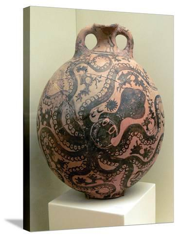 Minoan Clay Flask Decorated with Octopus--Stretched Canvas Print