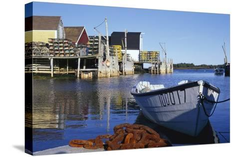 Boat and Fishermen's Wharf in Nova Scotia-Paul Souders-Stretched Canvas Print