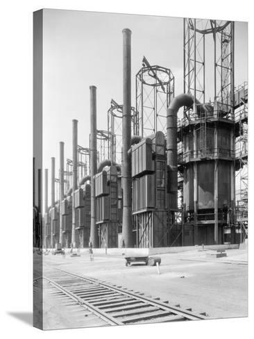 View of Cracking Stills at Oil Refinery--Stretched Canvas Print