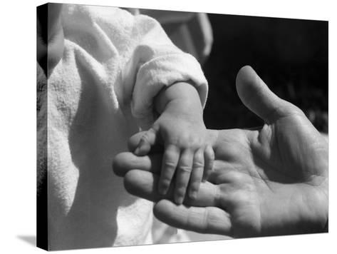 Infant's Hand in Man's Hand-Philip Gendreau-Stretched Canvas Print