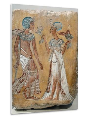 Armana Style Relief of a Royal Couple--Metal Print