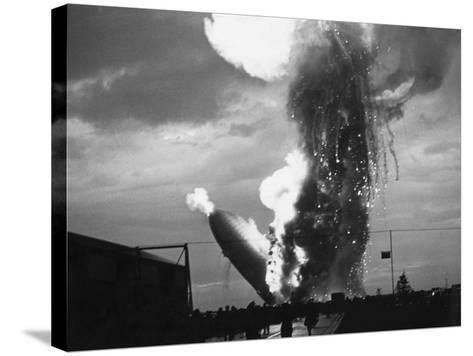 Zeppelin Hindenburg Burning in Lakehurst--Stretched Canvas Print