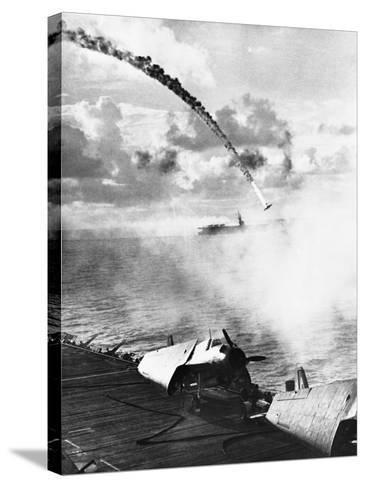 Japanese Plane Crashing in the Pacific--Stretched Canvas Print
