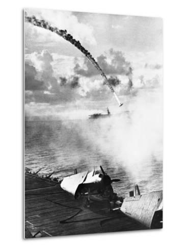 Japanese Plane Crashing in the Pacific--Metal Print