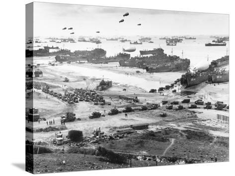Allied Forces at a Beach in Normandy--Stretched Canvas Print