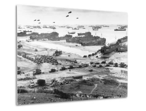 Allied Forces at a Beach in Normandy--Metal Print
