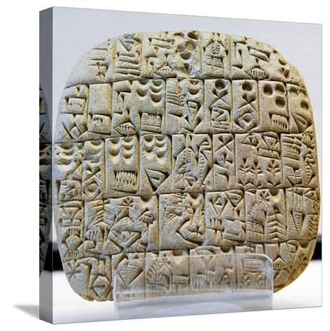 Sumerian Contract Written in Pre-Cuneiform Script--Stretched Canvas Print