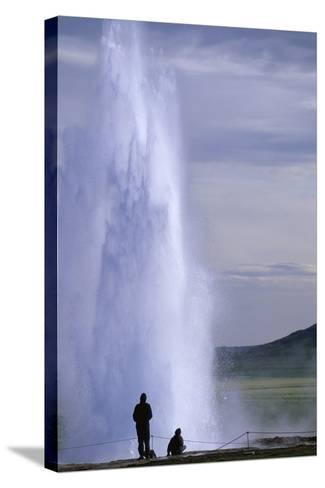 Strokkur Geysir Erupting-Paul Souders-Stretched Canvas Print
