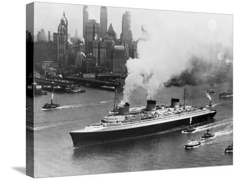 SS Normandie in New York Harbor--Stretched Canvas Print