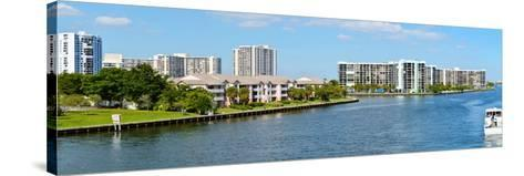 Buildings on Intracoastal Waterway, Hollywood Beach, Hollywood, Florida, USA--Stretched Canvas Print
