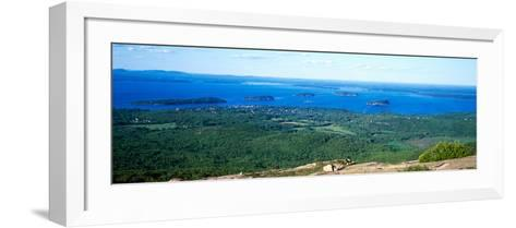 High Angle View of a Bay, Frenchman Bay, Bar Harbor, Hancock County, Maine, USA--Framed Art Print