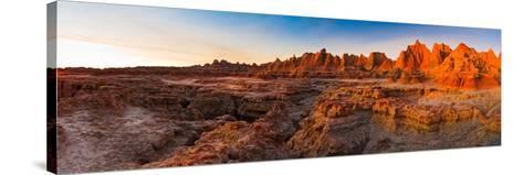 Rock Formations on a Landscape at Sunrise, Door Trail, Badlands National Park, South Dakota, USA--Stretched Canvas Print