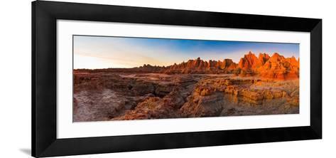 Rock Formations on a Landscape at Sunrise, Door Trail, Badlands National Park, South Dakota, USA--Framed Art Print