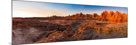 Rock Formations on a Landscape at Sunrise, Door Trail, Badlands National Park, South Dakota, USA--Mounted Photographic Print