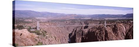 Suspension Bridge across a Canyon, Royal Gorge Suspension Bridge, Colorado, USA--Stretched Canvas Print