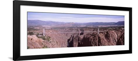 Suspension Bridge across a Canyon, Royal Gorge Suspension Bridge, Colorado, USA--Framed Art Print