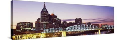Skylines and Shelby Street Bridge at Dusk, Nashville, Tennessee, USA 2013--Stretched Canvas Print