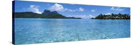 Motu and Lagoon, Bora Bora, Society Islands, French Polynesia--Stretched Canvas Print