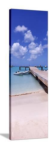 Boats Moored at a Pier, Sandy Ground, Anguilla--Stretched Canvas Print