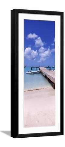 Boats Moored at a Pier, Sandy Ground, Anguilla--Framed Art Print