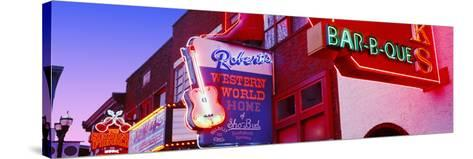 Neon Signs on Building, Nashville, Tennessee, USA--Stretched Canvas Print