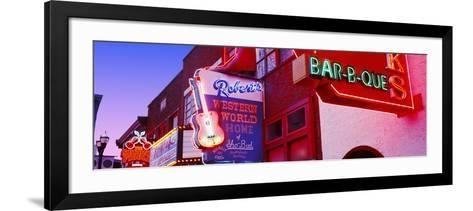 Neon Signs on Building, Nashville, Tennessee, USA--Framed Art Print